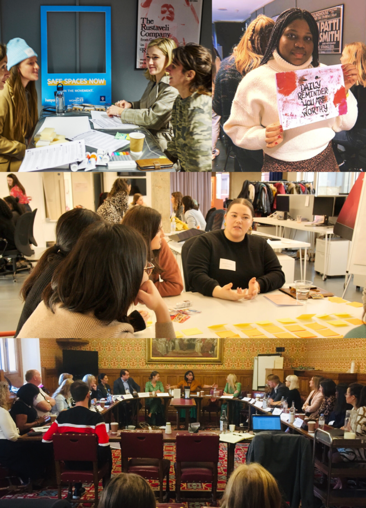Activists and participants taking part in UN Women UK events